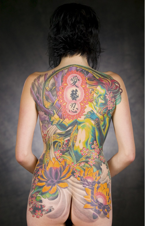 Symbol Japanese Full Back Tattoo Designs For Girls | Best Collection